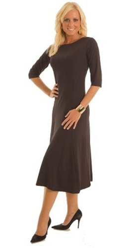 CLEARANCE SALE-A-Line 3/4 Sleeve Black Dress Misses/Plus Sizes Available (Fuss Free Apparel)