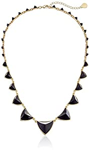 """House of Harlow 1960 Gold-Plated Pyramid Station Black Necklace, 21"""""""