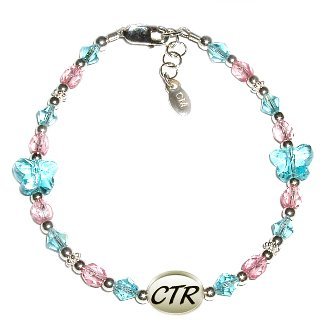 Girls Beautiful sterling silver CTR bracelet for that special occasion featuring beautiful aqua blue crystal butterflies! This is adjustable in length 6-6 1/2