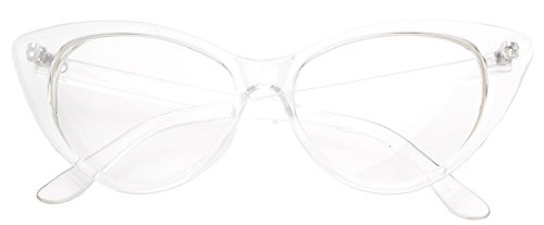 Super Cat Eye Glasses Vintage Clear Inspired Mod Fashion Clear Lens Eyeglasses