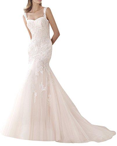 Dapene® Women'S Lace Train Mermaid Train Bridal Wedding Dress White Us 6