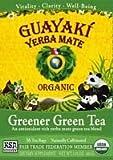 100% Organic Greener Green Tea Bags - 16 bags,(Guayaki Yerba Mate) ( Multi-Pack)