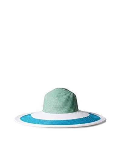 Giovannio Women's Paper Hat, White/Turquoise