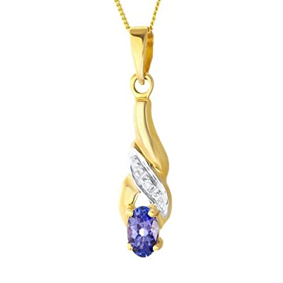 Ornami Glamour 9ct Yellow Gold Tanzanite and Diamond Set Crossover Fancy Pendant with 46cm Curb Chain