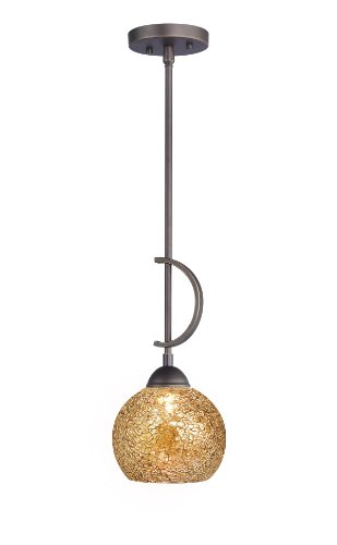 Woodbridge Lighting 13023MEB-M00MIR North Bay 1-Light Mini-Pendant, 6-Inch by 45-1/4-Inch, Metallic Bronze