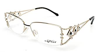 Designer Eyeglass Frames With Crystals : Amazon.com: Caviar Womens Austrian Crystals Champagne Gold ...