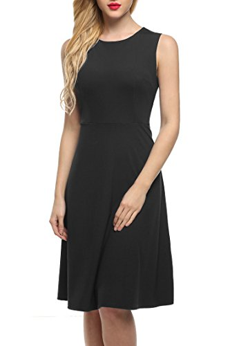 ANGVNS Women's A-Line Sleeveless Pleated Little Cocktail Party Dress