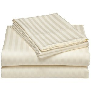 Wrinkle-Free Hotel Collection Damask Stripes Ivory California King size Microfiber sheet set, deep pocket, 95gsm ,100% Microfiber.