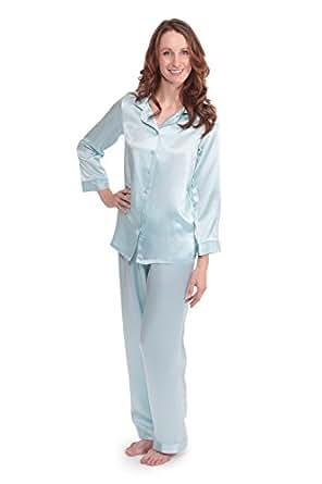 Women's Luxury Silk Pajama Set - Morning Dew (Divine Blue, X-Small/Petite) Popular Gifts for Mom Daughter Niece WS0001-DVB-XSP