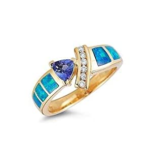 Tanzanite.com 14K Yellow Gold Tanzanite Diamond & Opal Inlay Ring .60 TCW