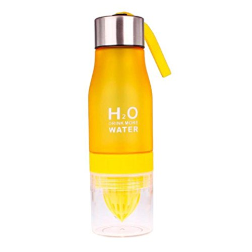 "Fruit Water Bottle,650ml Owill® 7 Colors Fashion Fruit Infusing Water Bottle Sports Health Lemon Juice Drink Cup 9.6x2.75x2.2"" (Yellow)"