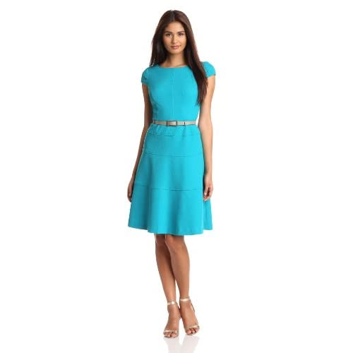 Anne Klein Women's Cap Sleeve Scoopneck Solid Dress, Turquoise, 12