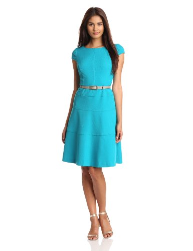 Anne Klein Women's Cap Sleeve Scoopneck Solid Dress, Turquoise, 10