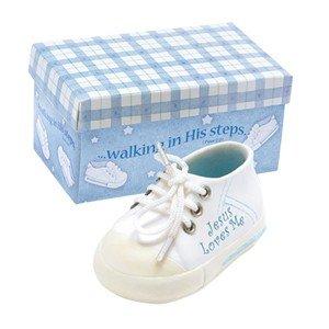 "Precious 3.5"" Ceramic JESUS LOVES ME - BABY Boy SNEAKER with BLUE Box - INFANT Gift with Scripture ""WALKING IN HIS STEPS"" BABY SHOWER/Keepsake/IT'S A BOY/NEWBORN Nursery Decor/SHOE"