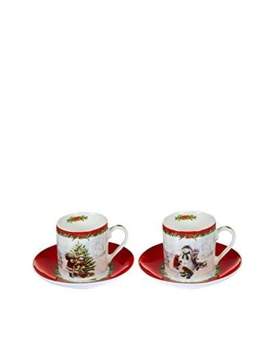 Set Taza De Café con Plato 2 Uds. Navidad Rojo/Blanco