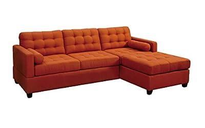 Poundex Bobkona Hardin Polyfabric Left or Right Hand Reversible Sectional Sofa, Canyon