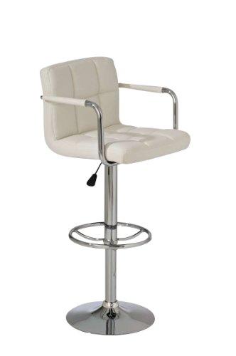CLP Barhocker LUCY in Chromoptik & mit Kunstlederbezug – aus bis zu 11 Farben wählen, höhenverstellbar 63 – 84 cm, 360° drehbar weiß
