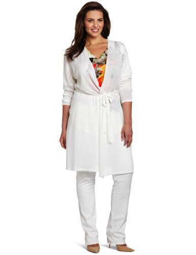 Kenneth Cole Women's Plus-Size Long Open Front Cardigan, White, 1X