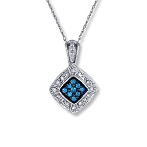 Artistry Diamonds Blue Diamond Necklace 1/4 ct tw Round-Cut 10K White Gold