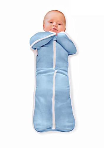 Bebemooi Sleephack: 100% Cotton Natural Sleeved Sleeper (Large, Blue) - 1