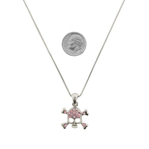 Fashion Jewelry ~ Pink Skull Accented Crystals Necklace
