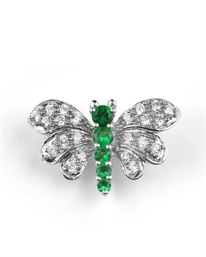 C.Z & EMER BUTTERFLY BROOCH PIN