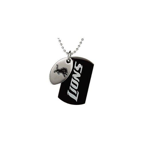 91 St Steel 45mm Detroit Lions NFL Football Team Jewelry Men 2 Dog Tag W/Chain