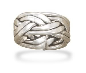 Sterling Silver Oxidized Double Row Braided Ring in Women's Sizes / Size 7