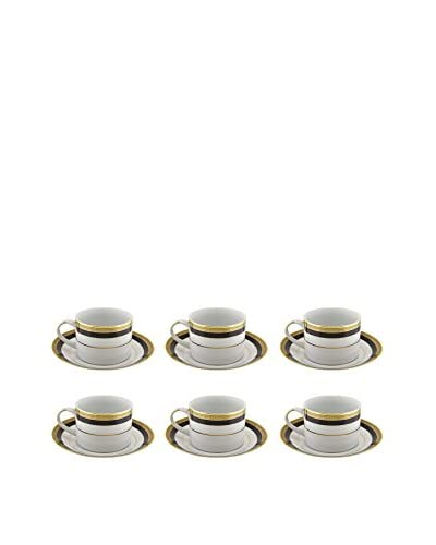 10 Strawberry Street Set of 6 Sahara Can Cup/Saucers, White/Black/Gold