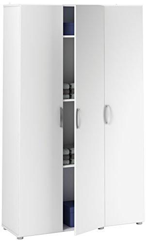 Demeyere 305543 Cobi Armoire Multifonctions avec 3 Portes Panneau de Particules Blanc 101,4 x 34 x 175 cm