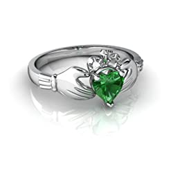 White Gold Heart Created Emerald Celtic Claddagh Ring