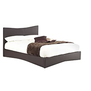 Beano Faux Leather Bed Frame - incl. Headboard - Black - Double