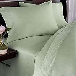 600-Thread-Count 100% Egyptian Cotton (NOT MICROFIBER POLYESTER) 600TC Sheet Set, Queen, Sage Solid 600 TC