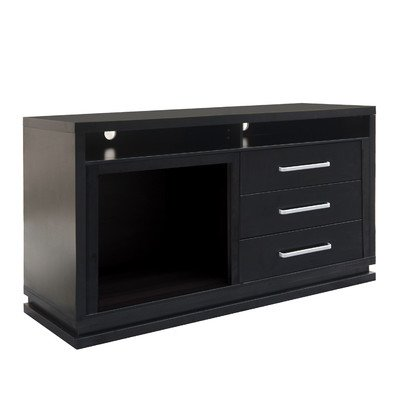 Corliving Tfp-706-Z Holland Tv Bench With Fireplace, 60-Inch, Black Wood Grain