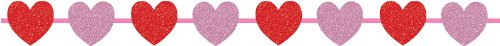 Creative Converting Glitter Heart Ribbon Garland, 12' Long