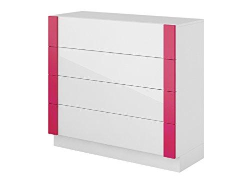 Kommode Y-07 mit 4 Schubladen Weiß/Weiß mit Hochglanzfront/Pink sideboard highboard kommode gunstig schlafzimmer kommode