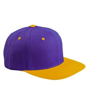 Original Yupoong Two-Tone Pro-Style Wool Blend Snapback Snap Back Blank Hat Baseball Cap 6098MT Purple / Gold