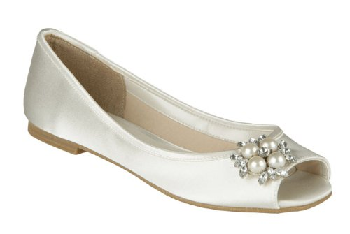 Pink Flower Bridal Shoes White Size-11M