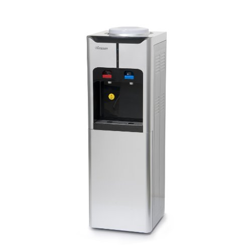 Iluminum ILUS105 39-Inch Freestanding Water Cooler Dispenser with Storage Cabinet, Hot and Cold, Silver