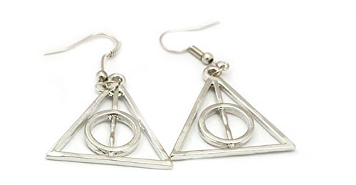 Harry Potter Silver Deadly Hallows Logo Earring Dangles In Gift Box from Outlander (Harry Potter Themed Costumes)