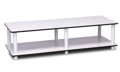 Furinno 11175 Just Wide TV Stand, White Finish with Espresso Edging White Tube