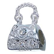 Genuine Zable (TM) Product. 925 Sterling Silver Purse Bead with Crystals Charm. 100% Satisfaction Guaranteed.