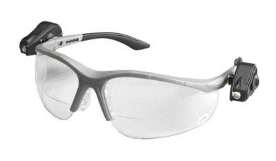3M Light Vision 2 Readers 1.5 Diopter Safety Glasses With Gray Frame, Clear Polycarbonate Anti-Fog Lens, Dual Led Lights, Microfiber Bag And Lanyard