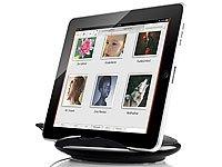 auvisio 2in1-Ständer mit Lautsprecher SML-195 für iPad, Tablet-PC uvm.
