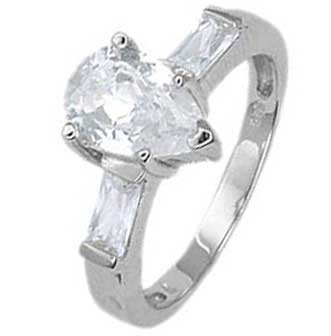 Sterling Silver Engagement Ring With Pear Cut Cubic Zirconia In Bar Setting