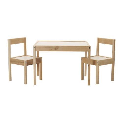 IKEA イケア LATT 子供用テーブル チェア2脚付 ホワイト パイン材