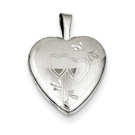 Genuine IceCarats Designer Jewelry Gift Sterling Silver 16Mm D/C Double Hearts Heart Locket