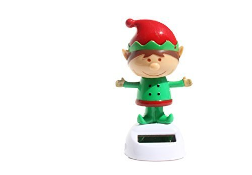 ~ Cute ~ Christmas Dancing Elf ( Santa's Magic Helper ) Bobble Head Solar Toy by KT - 1