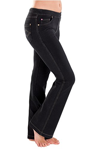 PajamaJeans - Petite Bootcut Black Stretch Knit Denim Jeans for Women