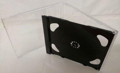 Atronica 5 doppelt, 10 mm dick, Standardgröße, 2 CD-Hüllen, Kunststoff, mit Deckel, transparent, TRAY schwarz, für 2 CDs